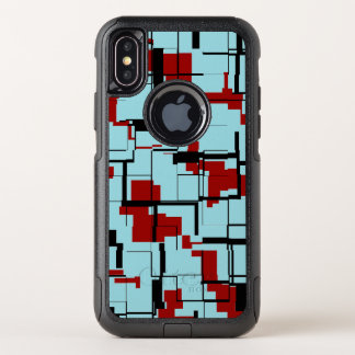 Digital-Camouflage-Schwarz-blaues Rot-Muster OtterBox Commuter iPhone X Hülle