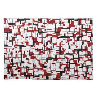 Digital-Camouflage-Schwarz-weißes rotes Muster Stofftischset