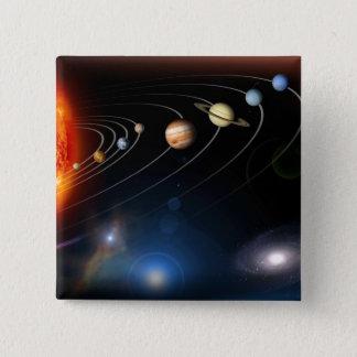 Digital erzeugtes Bild unseres Sonnensystems Quadratischer Button 5,1 Cm