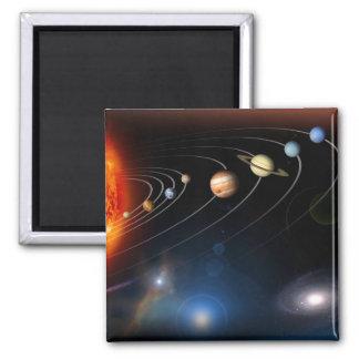 Digital erzeugtes Bild unseres Sonnensystems Quadratischer Magnet