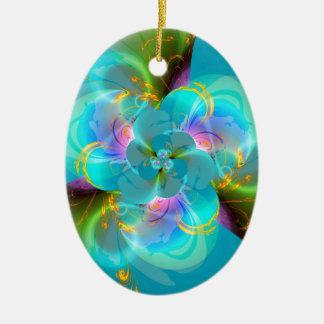 Digital flower pastell turquoise designed by Tutti Ovales Keramik Ornament