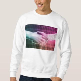 Digital-Händedruck zwischen Mann und Maschine Sweatshirt