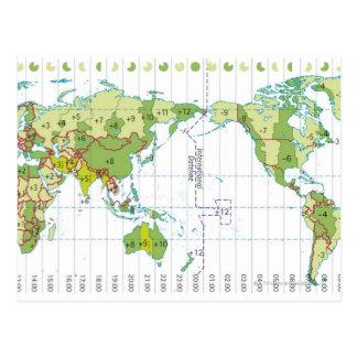 Digital-Illustration der Weltkarte Zeit zeigend Postkarte