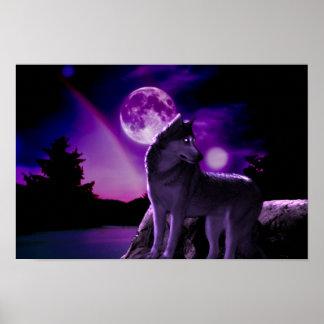 Digital-Kunst-lila Wolf-Plakat Poster