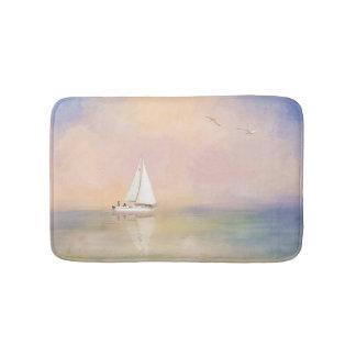 Digital-Malerei des Segelboots und der Seemöwen Badematte