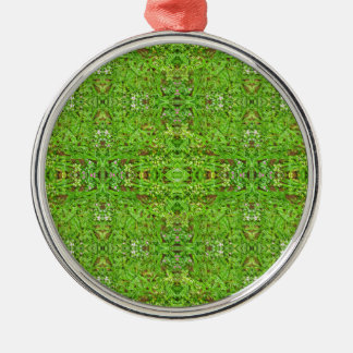 Digital-Natur-Collagen-Muster Rundes Silberfarbenes Ornament