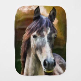 Digital-Pferdeporträtmalerei-Namenbaby Baby Spucktuch