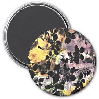 Digitale mit Blumenkunst des gelben rosa Runder Magnet 7,6 Cm