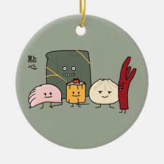 Dim Sum-Schweinefleisch Bao Shaomai chinesisches Rundes Keramik Ornament