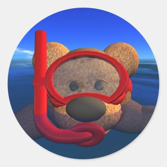 Dinky Bären: Snorkeler Runder Aufkleber