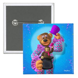 Dinky Bärn-Clown mit Affen Quadratischer Button 5,1 Cm