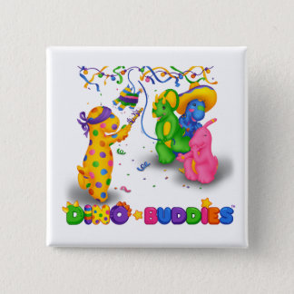 Dino-Buddies™ Knopf - Pinata-Szene Quadratischer Button 5,1 Cm