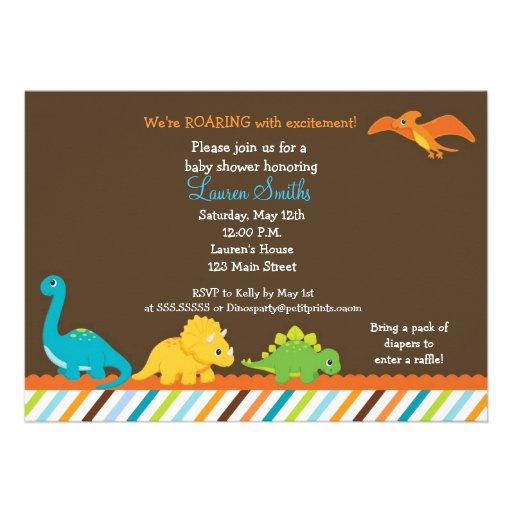 dino dinosaurier jungen babyparty einladung 12 7 x 17 8 cm einladungskarte zazzle. Black Bedroom Furniture Sets. Home Design Ideas