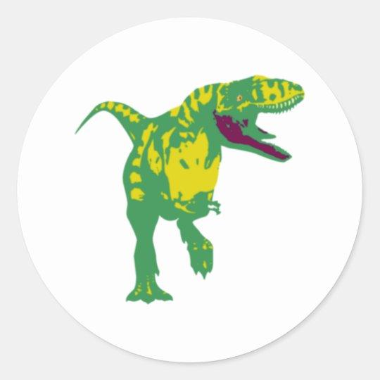 Dino Dinosaurier Saurier dinosaur T Rex Runder Aufkleber