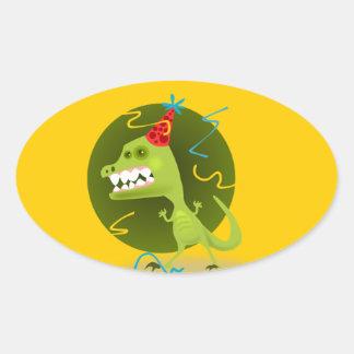 Dino Felsen - Dinosaurier-Geburtstags-Party Ovaler Aufkleber