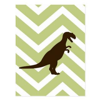 Dinosaurier auf Zickzack Zickzack - Grün und Weiß Postkarte