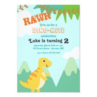 Dinosaurier-Baby-Geburtstags-Party Einladung