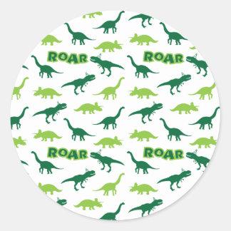 Dinosaurier-Brüllen-Aufkleber Runder Aufkleber