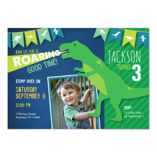 Dinosaurier-Brüllenjungen-Geburtstags-Party 12,7 X 17,8 Cm Einladungskarte
