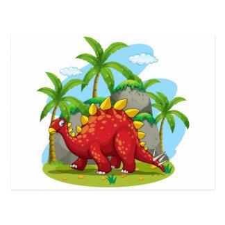 Dinosaurier, der auf dem Gebiet geht Postkarte