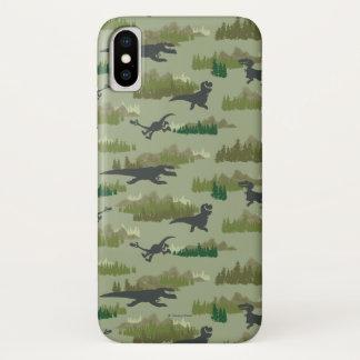 Dinosaurier, die Camouflage-Muster laufen lassen iPhone X Hülle