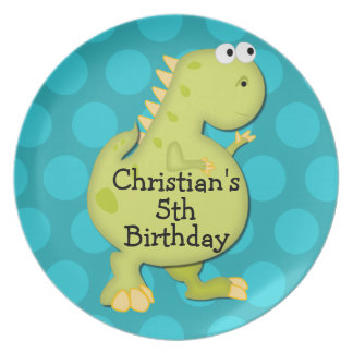 Dinosaurier-Geburtstags-Party-Leckerei-Andenken-Pl Flacher Teller