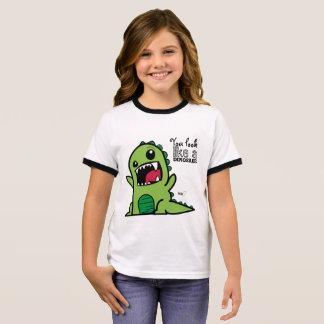 Dinosaurier-Gesicht Ringer T-Shirt