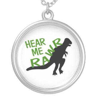 Dinosaurier hören mich Rawr Versilberte Kette