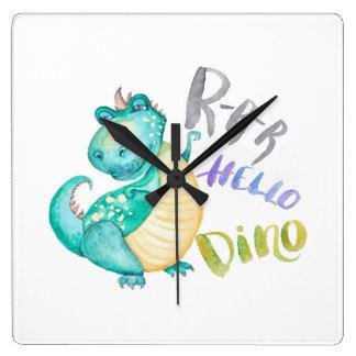 Dinosaurier-Illustration Quadratische Wanduhr