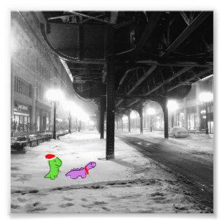 """Dinosaurier im Schnee, """"L"""" Zug, Chicago Fotodruck"""