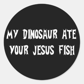 Dinosaurier isst Jesus-Fische Runder Aufkleber