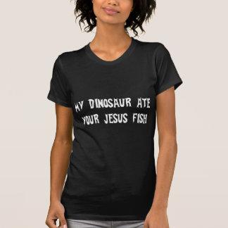 Dinosaurier isst Jesus-Fische T-shirt