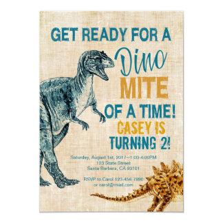Dinosaurier-Jungen-Geburtstags-Einladung Karte
