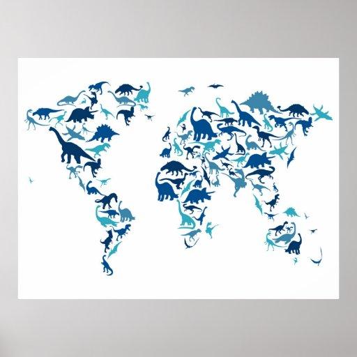 Dinosaurier-Karte der Weltkarte Poster