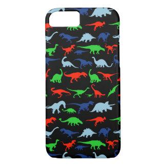 Dinosaurier-Muster grün-blau und Rot auf Schwarzem iPhone 8/7 Hülle