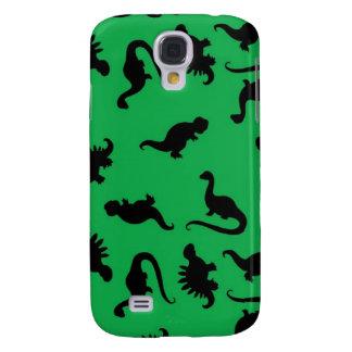 Dinosaurier-Silhouetten auf grünem Galaxy S4 Hülle