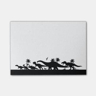 Dinosaurier-Silhouetten Post-it Klebezettel