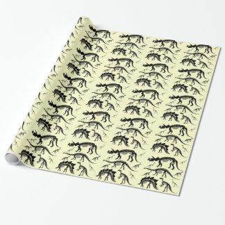 Dinosaurier-Skelett entbeint gelbes Geschenkpapier