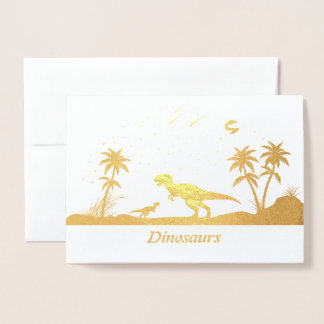 Dinosaurier unter den Sternen Folienkarte