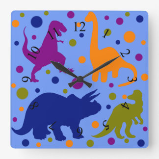 Dinosaurierpolkapunkt-süßes Tier scherzt Raum Quadratische Wanduhr