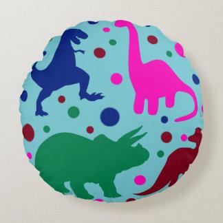 Dinosaurierpolkapunkt-Tierbaby scherzt Raum Rundes Kissen