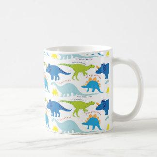 Dinosuar entwirft blaue und grüne kaffeetasse