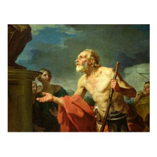 Diogenes, der für Almosen, 1767 fragt Postkarte