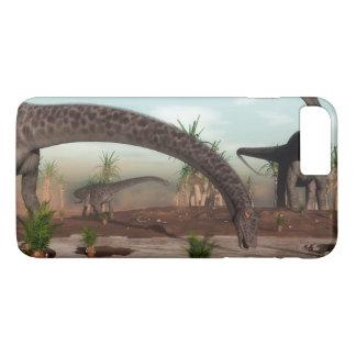 Diplodocusdinosaurierherde, die geht zu trinken iPhone 8 plus/7 plus hülle