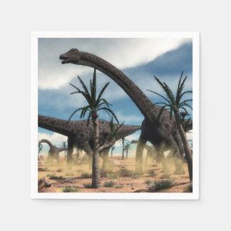 Diplodocusdinosaurierherde in der Wüste Papierserviette