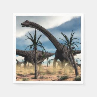 Diplodocusherde in der Wüste Serviette