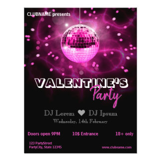 Disco-Ball des Valentines Tages- Party-Flyer Flyer