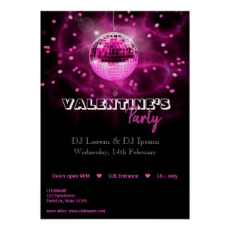 Disco-Ball des Valentines Tages- Poster