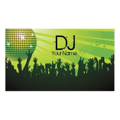 Disco-Ball - DJ-Geschäft Karte-grün Visitenkarten Vorlagen