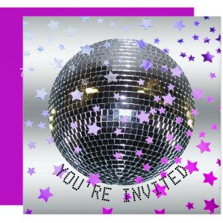 Disco-Party 70er des Disco-Geburtstages lila   Karte